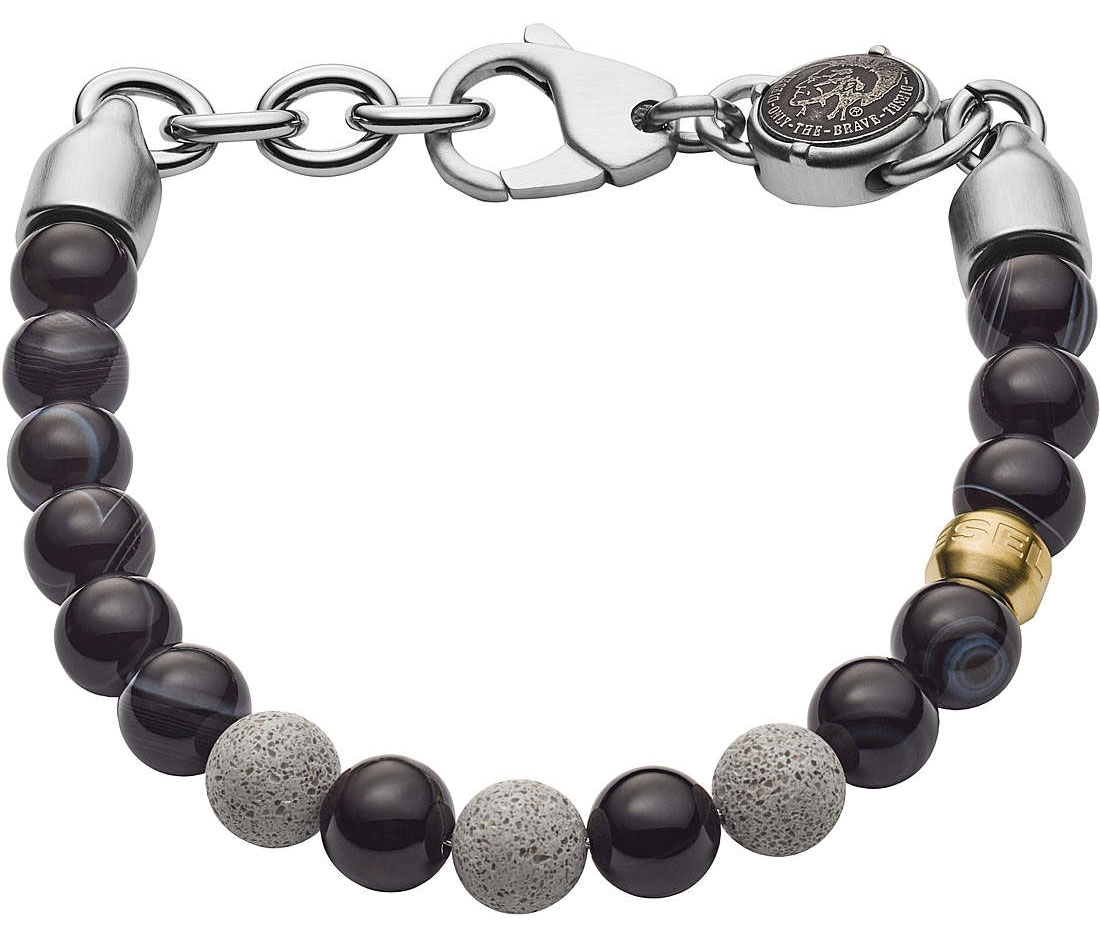DIESEL Beaded Two-Tone Semi-Precious and Concrete Bracelet DX1192040